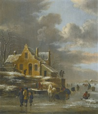 winter landscape with a horse-drawn sled and many figures skating on the frozen riverband, a farmhouse on a small hill to the left by klaes molenaer