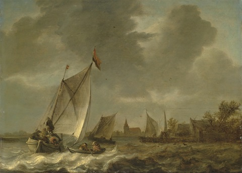 coastal landscape with sailing boats in choppy seas by abraham van beyeren