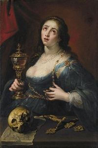 the penitent magdalene, holding a cup, with a skull and a crucifix by marco rabboni
