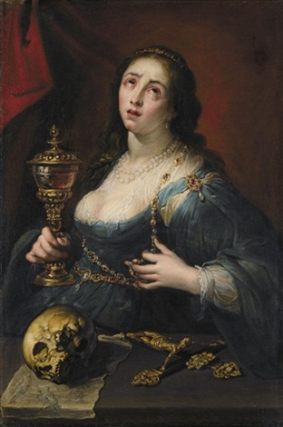 the penitent magdalene holding a cup with a skull and a crucifix by marco rabboni