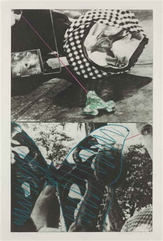 looking while catching and holding frog and butterfly from fairy tale series by john baldessari