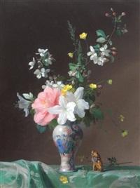 bouquet de fleurs aux lys et branches de pommiers by françois rivoire