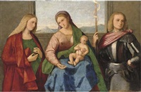 the madonna and child with saint mary magdalen and saint george by vincenzo catena