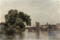the old bridge at st.ives, cambridgeshire by frederick george cotman