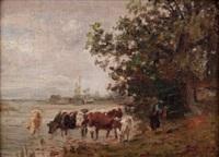 kühe bei der tränke am see by julius kornbeck