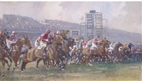 at the start, the grand national by gilbert holiday