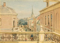 view of the kerkstraat, zandvoort by willem de famars testas
