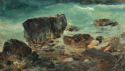 coastal scene with larger rocks by daniel hermann anton melbye