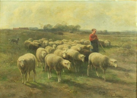 shepherd with flock of sheep by cornelis van leemputten