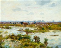 farmer with sheep and cows in a wide landscape by cornelis koppenol