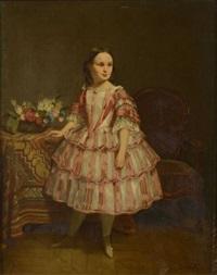 portrait de petite fille dans une robe rose by eugène accard
