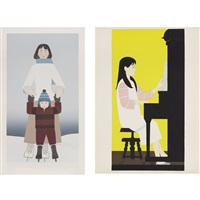 the piano; the skater (2 works) by will barnet