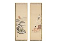tosho-gu/kusunoki tei-i (a pair of scrolls) by gyokusho kawabata
