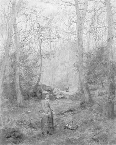children gathering wild flowers in the woods by wilmot pilsbury