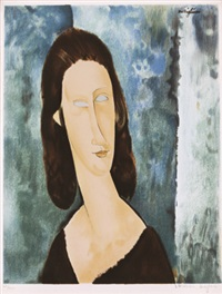 blue eyes, portrait of madame jeanne huterne by amedeo modigliani