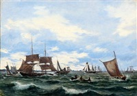 ships on the sound (øresund) by daniel hermann anton melbye