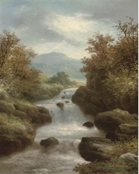 a waterfall in a mountainous landscape by r. marshall