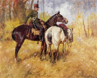 hungarian officer with two horses by ede lengyel-reinfuss
