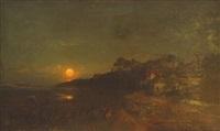 abendstimmung am seeufer mit lichtspiel der abendsonne auf dem wasser by carl julius e. ludwig
