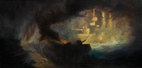 battle scene at night (+ another; 2 works) by frederick t. jane