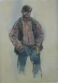 portrait of a standing farmer by william selwyn