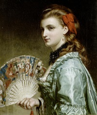 portrait of a lady with an ivory fan by frank dicksee