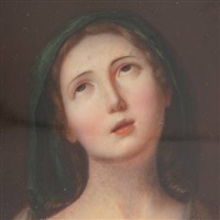 portrait of the virgin mary (+ portrait of a gentleman, 1811, signed, lrgr; 2 works) by louis ami arlaud-jurine