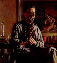 man with glove (self-portrait) by herbert edward badham