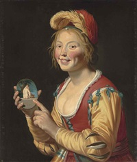a courtesan holding an obscene image by gerrit van honthorst