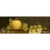 white pumpkin and grapes (+ lilies of valley, irgr; 2 works) by sondra lipton