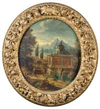 paysage au mausolée surplombant une rivière (+ paysage imaginaire animé de statues et personnages; pair) by jean marieige