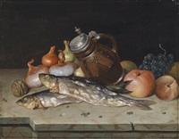 stillleben mit obst, zwiebel und fischen by matthias rudolf toma