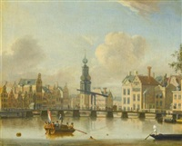 amsterdam, a view of the singel and munttower, with figures crossing a bridge and swimming in the foreground by jacobus storck
