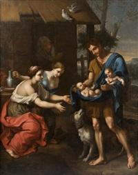 le berger faustulus ramène romulus et rémus à sa femme by nicolas mignard