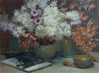 a still life of flowers on a table-top by henry young alison