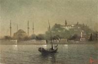 barque sur le bosphore, devant topkapi by onnik der azarian