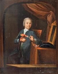 jeune homme au perroquet by dominicus van tol