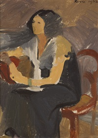 woman seated by elizabeth rivers