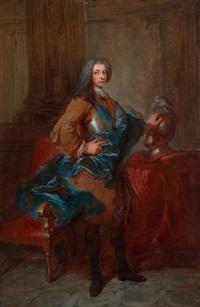 portrait eines mannes in rüatung, mit der linken hand auf seinem helm by louis tocqué