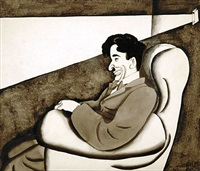 charlie chaplin watching himself in the movies: the little fellow's okay (illus. for december 1930 issue of delineator) by ralph barton