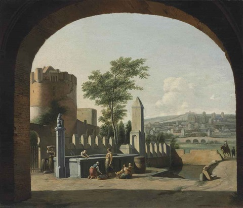 a townscape viewed through an archway with women by a fountain by gerrit adriaensz berckheyde