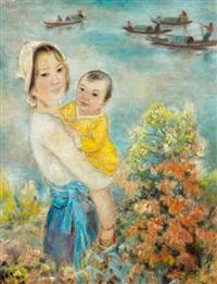 jeune mère aux jonques by le thi luu