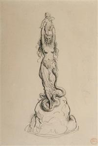 études préparatoires pour la sculpture de l'effroi (recto/verso) by gustave doré
