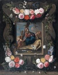 piéta dans une couronne de fleurs by daniel seghers and cornelis schut the elder