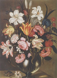 still life of flowers in a glass vase with a toad resting on a ledge by abraham bosschaert