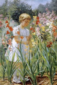 girl picking flowers by j. winthrop andrews
