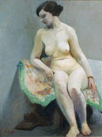 modèle nu assis et buste de profil (recto-verso) by louis françois biloul