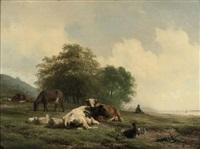 cattle resting on the river bank by hendrik van de sande bakhuyzen