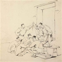 chinese gaming (recto); study of a chinese woman after chinnery (verso) by george chinnery