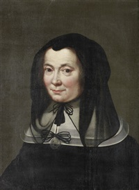 portrait of a lady, bust-length, in a black dress and headdress by jacob oost the elder